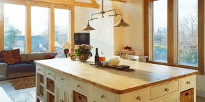 Light, airy open plan kitchen, with many oak frame features.