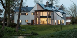 Modern Leicestershire Eco House with woodland garden.