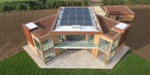The flat roof accommodates an array photovoltaic cells.